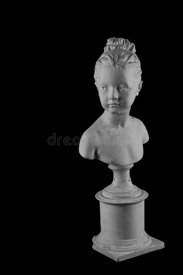 Plaster figure of a bust of the girl portrait of Louise. White plaster bust, gypsum sculpture portrait figure of a bust of the girl portrait of Louise stock photos