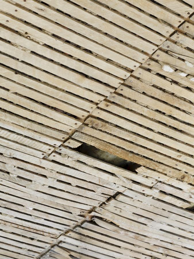 Plaster and lath ceiling. Old plaster and lath ceiling in need of repair stock photography