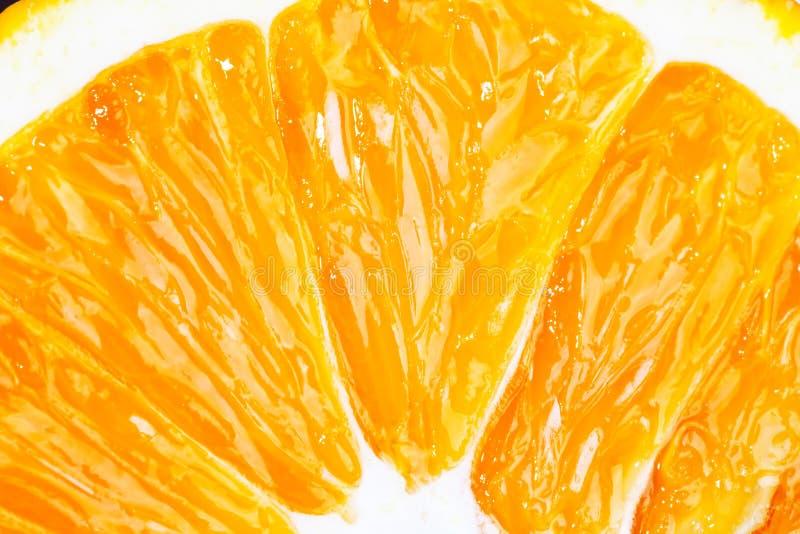 Plasterek świeży pomarańczowy owocowy zbliżenie makro- obraz royalty free