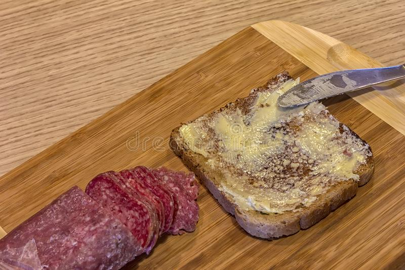 Plasterek chleb z masłem fotografia royalty free