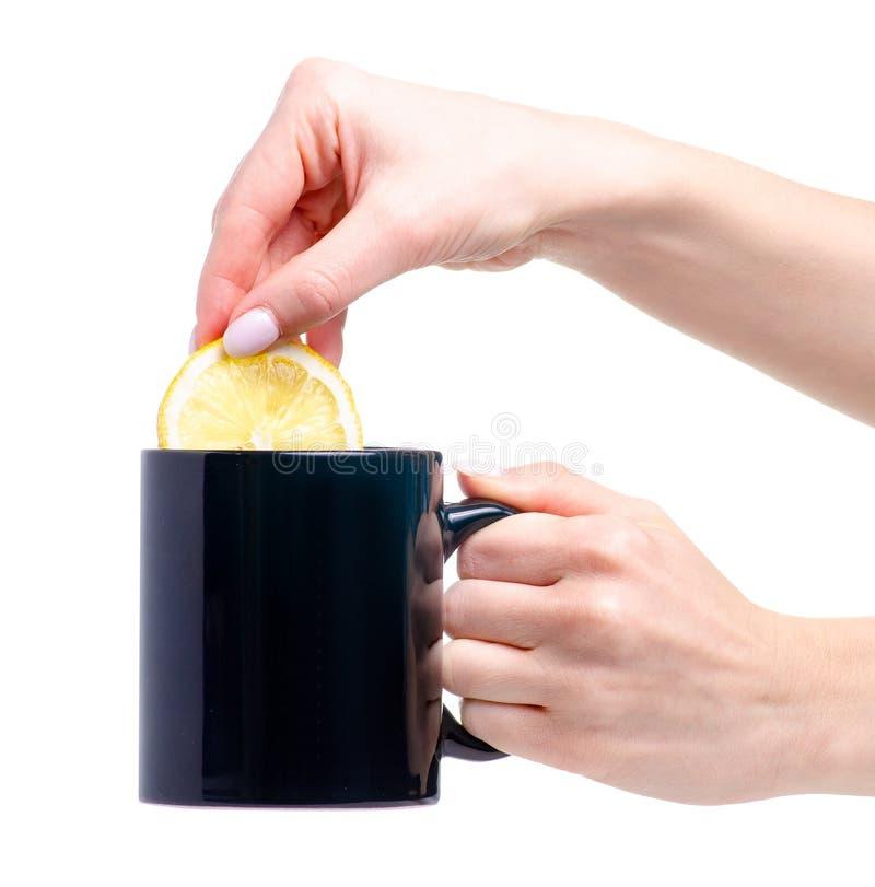Plasterek cytryna stawiająca w czarnym filiżanka kubku herbata zdjęcia stock