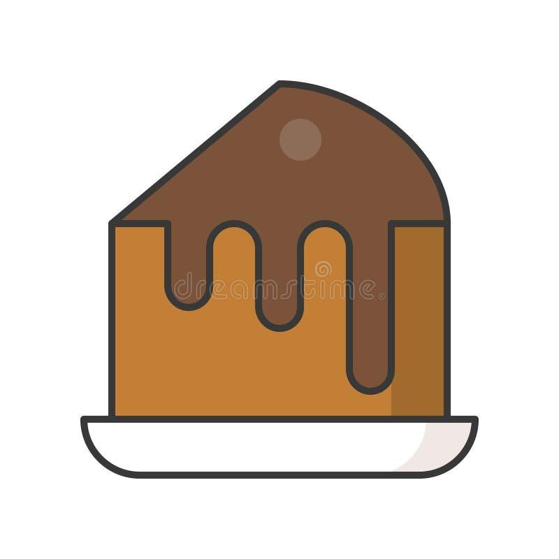 Plasterek czekoladowego fudge tort cukierki i ciasto set, wypełniał za ilustracji