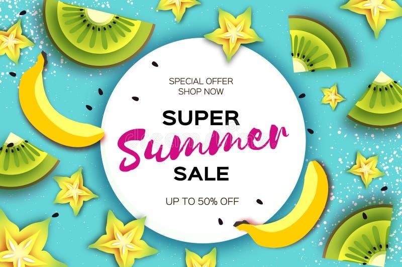 Plasterek kiwi i carambola Bananowy Super lato sprzedaży sztandar w papieru cięcia stylu Origami koloru żółtego soczyści dojrzali ilustracja wektor