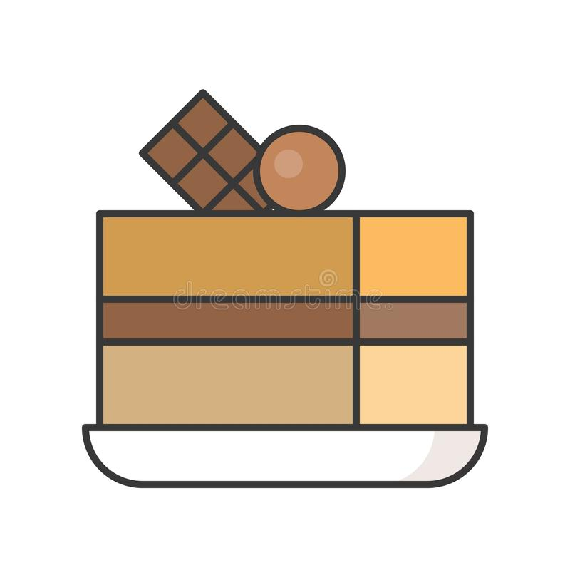 Plasterek mokka tort cukierki i ciasto set, wypełniał kontur ikonę ilustracji