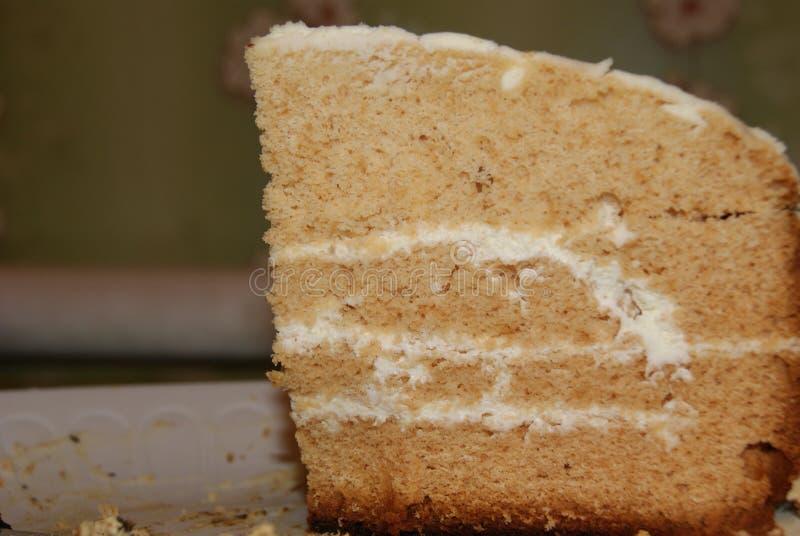 Plasterek płatowaty miodowy tort na nieociosanym tle obrazy stock