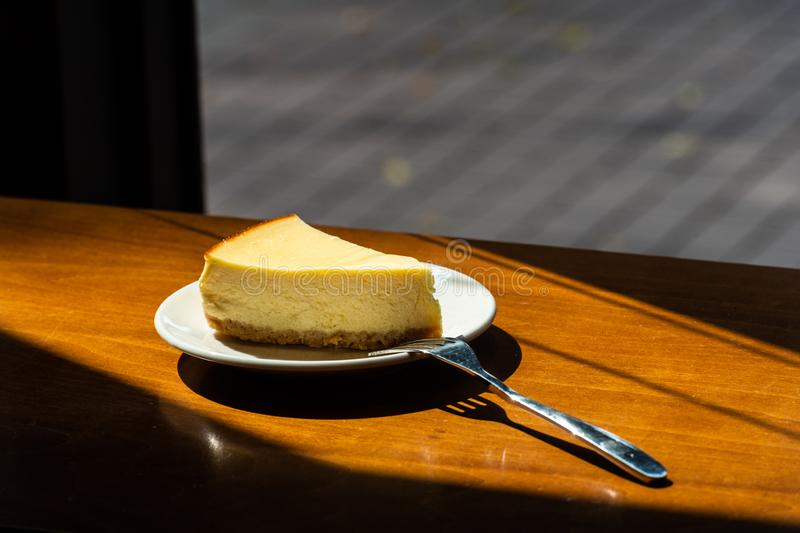 Plasterek prosty nowy York cheesecake obrazy royalty free
