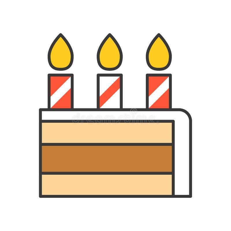 Plasterek urodzinowy tort cukierki i ciasto set, wypełniał kontur ic ilustracja wektor
