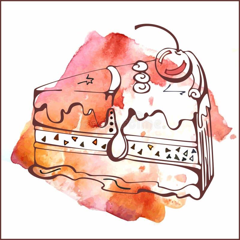 Plasterek wanilia tort z wiśnią royalty ilustracja