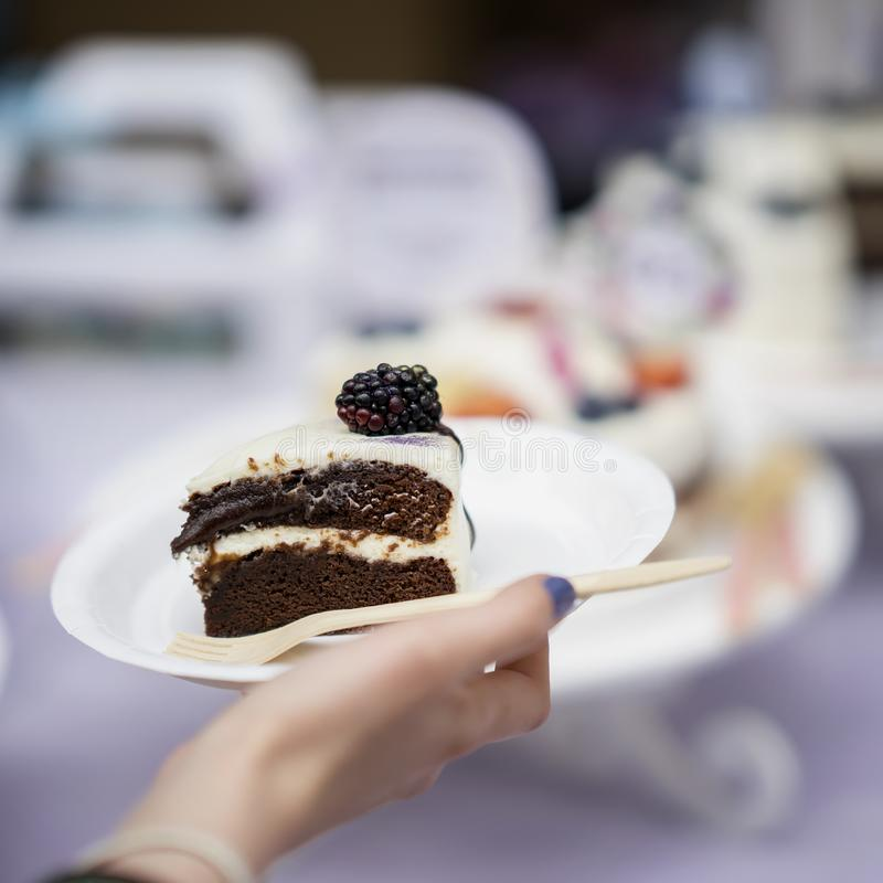 Plasterek wyśmienicie czekoladowy tort z śmietanką i czernicami, talerz w ręce, świeży lato deser, selekcyjna ostrość obraz stock