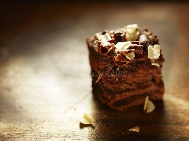 Plasterek wyśmienity czekoladowy tort zdjęcia stock