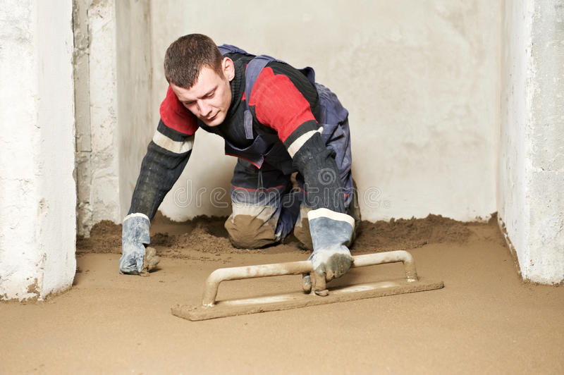Download Plasterer Concrete Worker At Floor Work Stock Photo - Image of plasterwork, concrete: 28737698