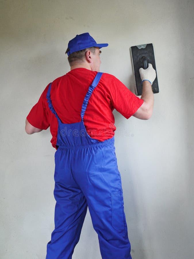 Plasterer At Work Stock Images