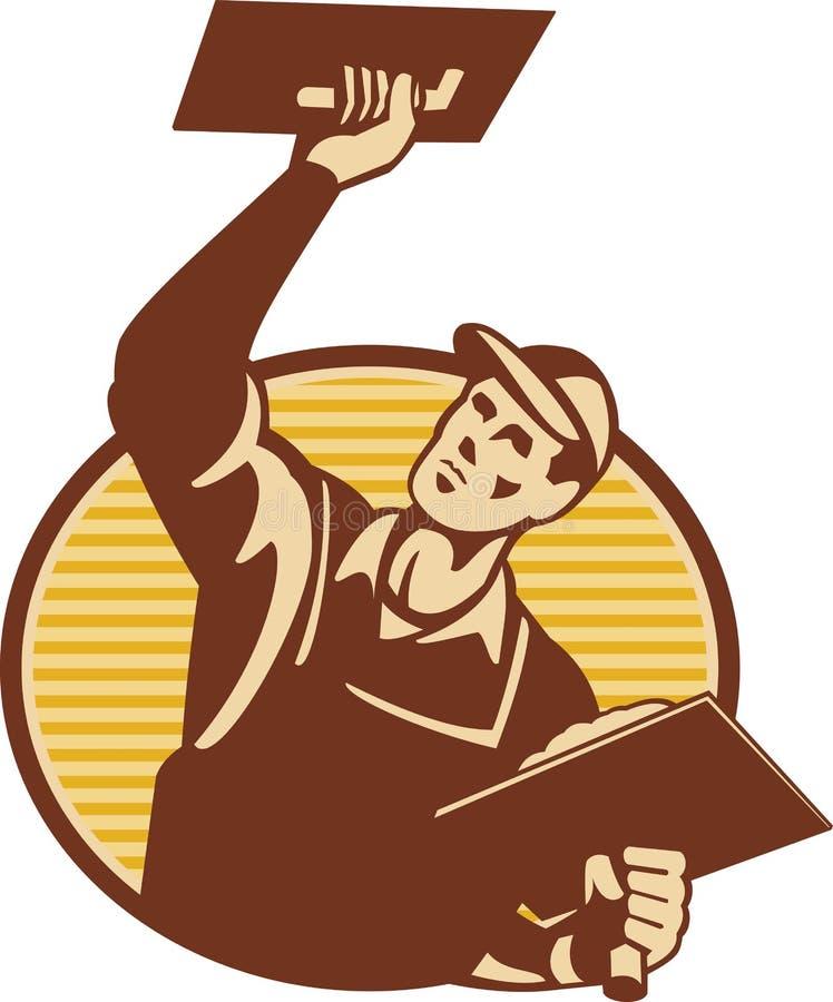 Plasterer Worker Tradesman Plastering Retro royalty free illustration