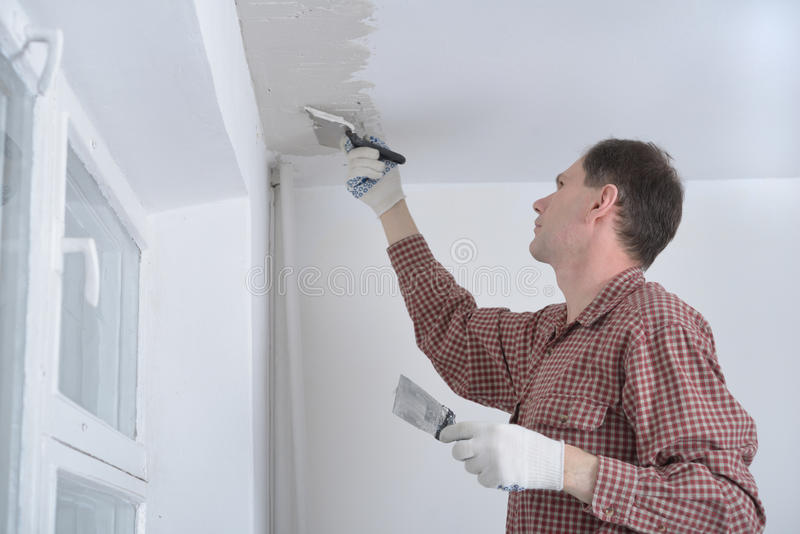 Plastering a ceiling royalty free stock images