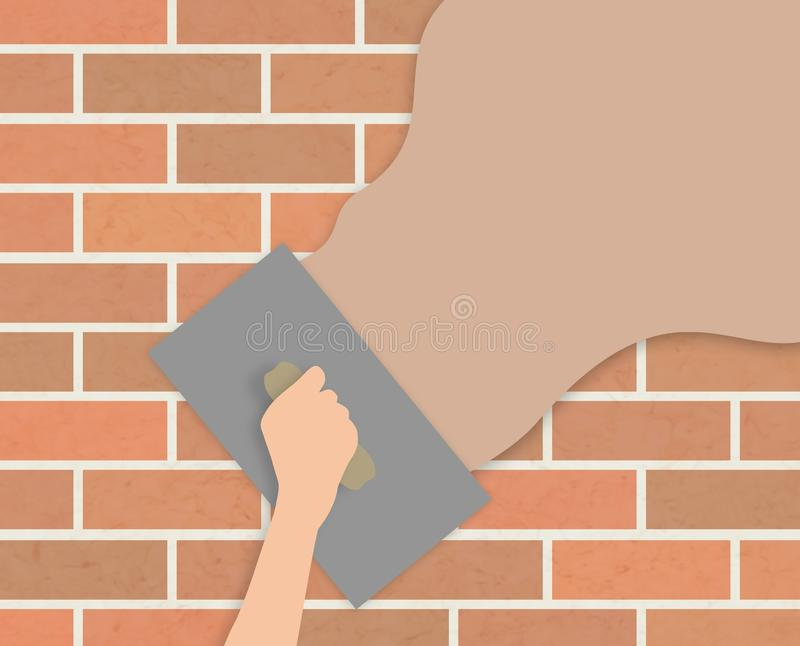 Plastering wall stock illustration