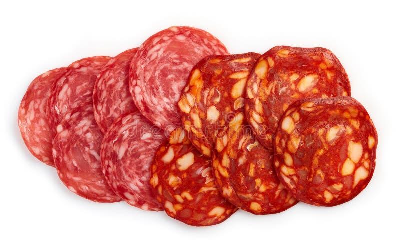 Plasterki chorizo salami i kiełbasa obraz stock