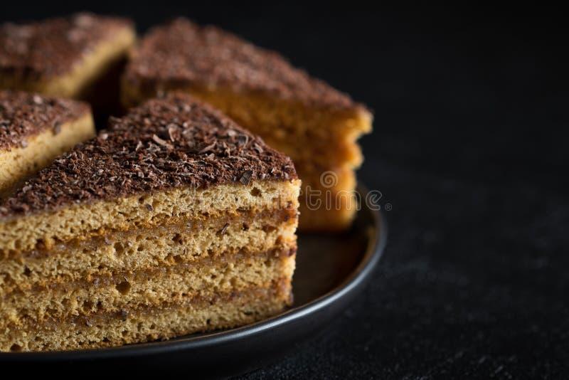 Plasterki miodowy tort zdjęcie stock