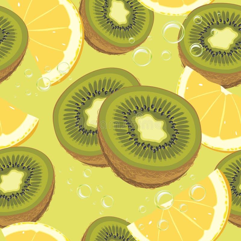 Plasterki pomarańcze i kiwi dojrzała owoc. Bezszwowy backgr ilustracji