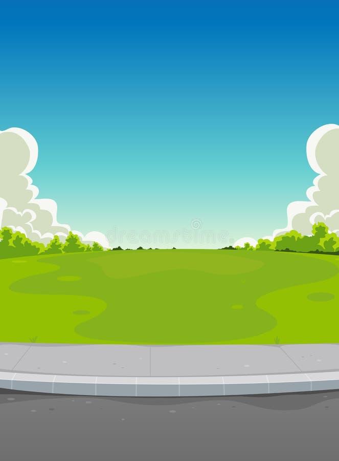 Plasterung und grüner Park-Hintergrund lizenzfreie abbildung