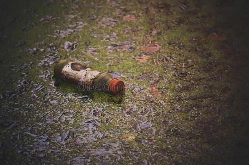 Plastic afval in het vuile water en het groene gras stock afbeelding