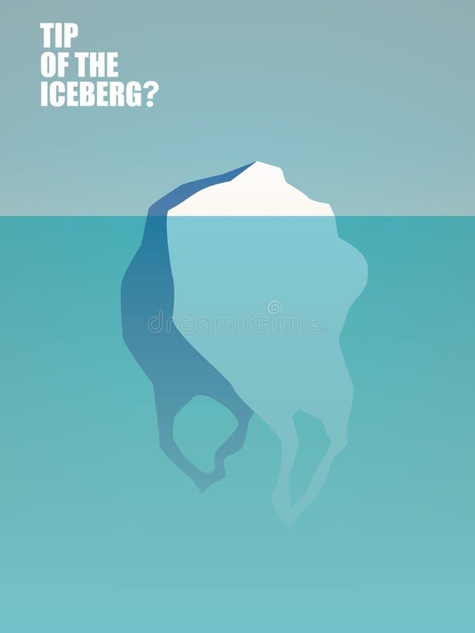 Plastic afvalverontreiniging in oceanen en overzees vectorconcept Zak als ijsberg Symbool van natuurlijke milieuramp stock illustratie
