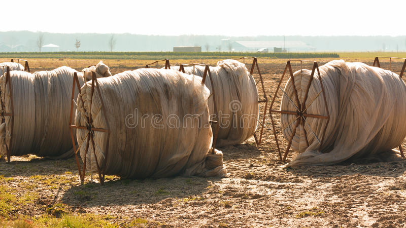 Plastic agricultural film in rolls in a pasture stock photos