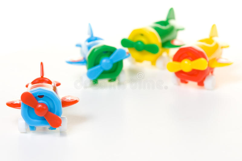 Plastic airplane toy. Plastic airplane model toy isolated on white background with clipping path stock photo