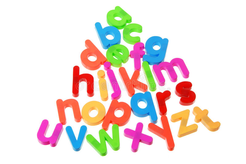 Plastic Alphabets stock images