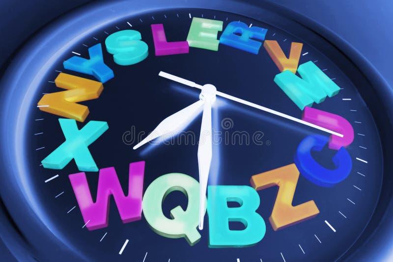 Plastic Alphabets on Wall Clock royalty free stock image