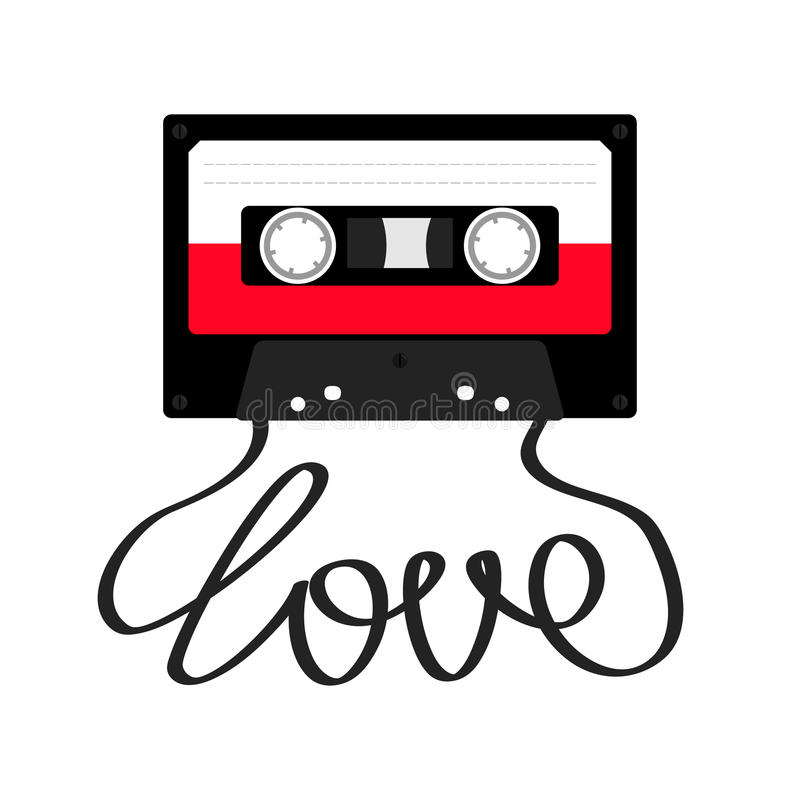 Plastic audio tape cassette with tape word love. Retro music icon. Recording element. 80s 90s years. Red color template. Flat desi vector illustration