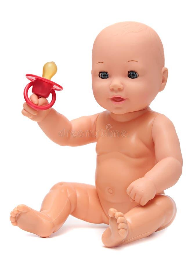 Plastic Baby - pop op Geïsoleerde Witte Achtergrond royalty-vrije stock foto's