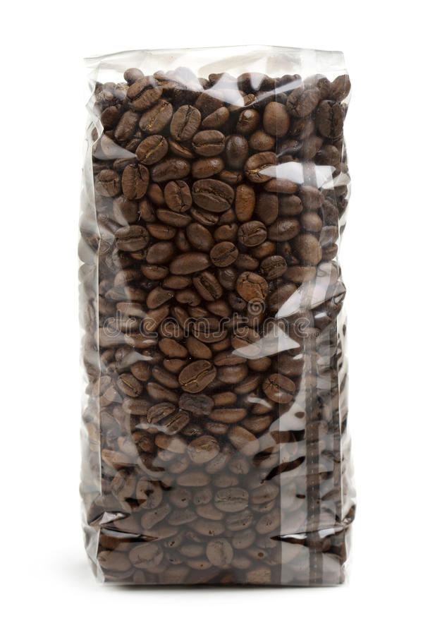 Plastic bag of coffee beans stock images