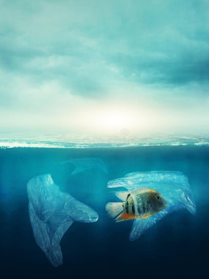 Plastic bag with a fish in the ocean stock photos