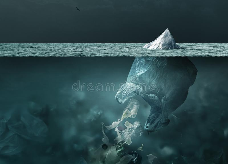 Plastic bag iceberg floating in the ocean and global warming concept stock photo