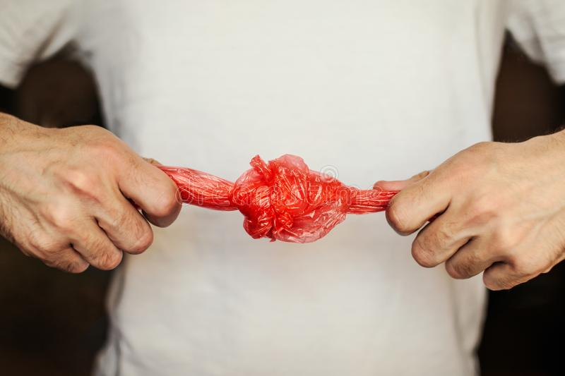 The plastic bag is knotted royalty free stock photo