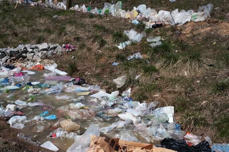 Plastic bag pollution stock photo