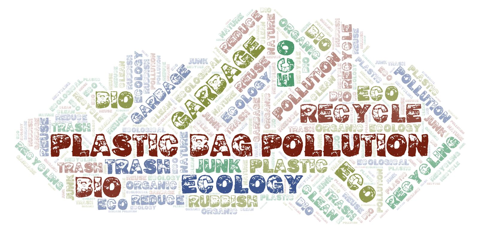 Plastic Bag Pollution word cloud stock images