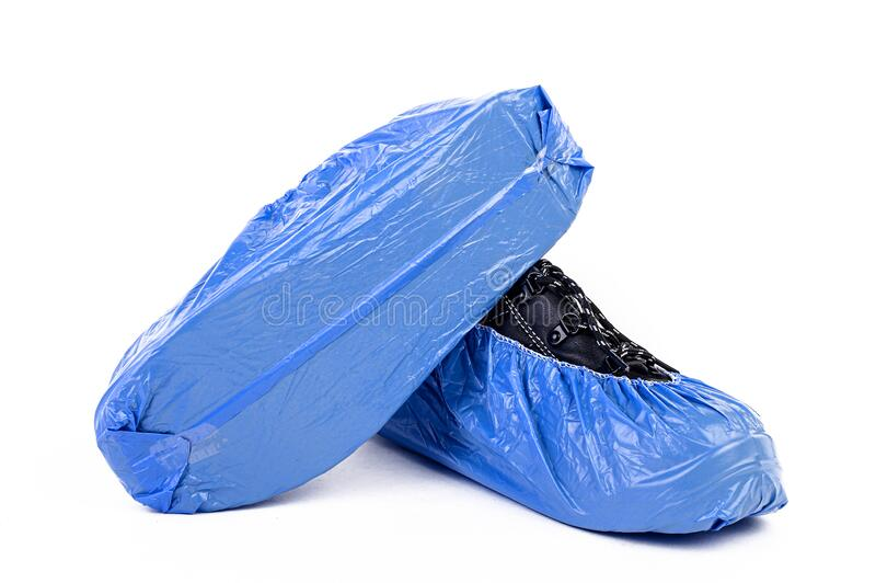 The Plastic bag for shoe to protect covid, covid 19, corona, fever, flu and surgery operation to avoid virus, dirty and keep clean. The Plastic bag for shoe to royalty free stock photo