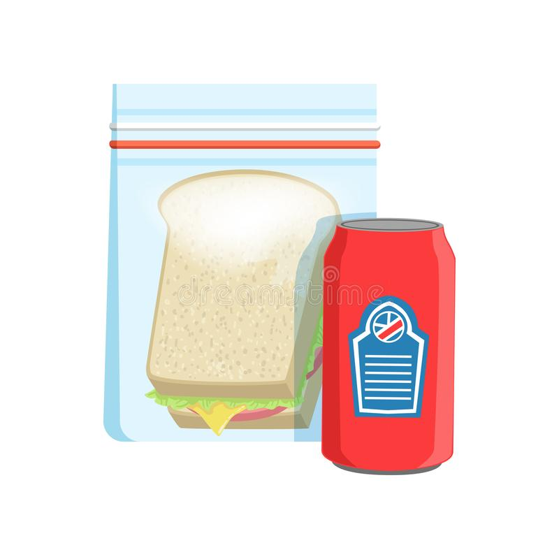 Plastic bag with soda drink and sandwich vector Illustration on a white background royalty free illustration