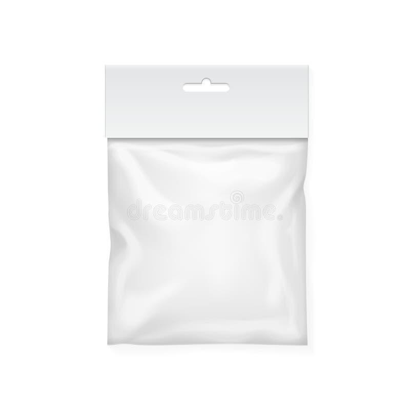 Plastic bag template. White blank packaging with hang slot. Mock up Vector illustration vector illustration