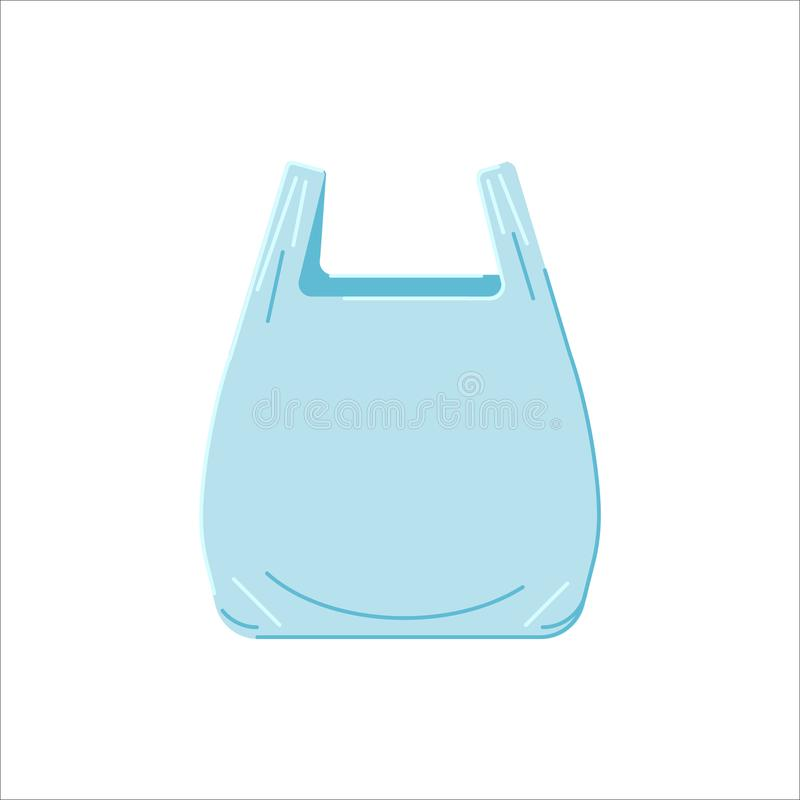 Plastic bag on a white background in flat style. Icon. Vector illustration royalty free illustration