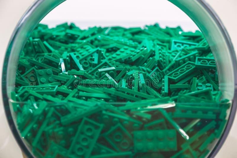 Plastic Baksteenstuk speelgoed in Groene Kleur royalty-vrije stock afbeelding