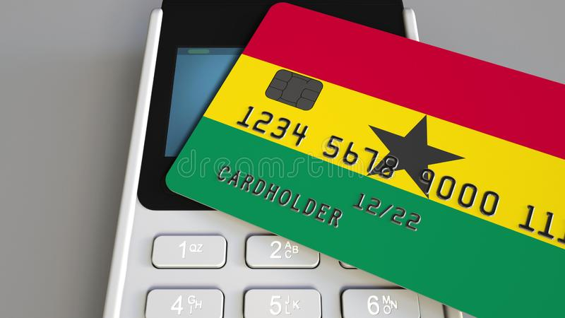 Plastic bank card featuring flag of Ghana and POS payment terminal. Ghanaian banking system or retail related 3D royalty free illustration
