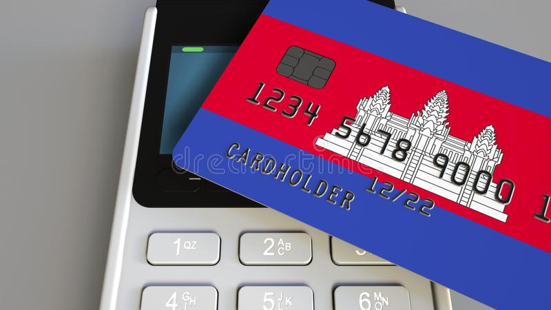 Plastic bank card featuring flag of Cambodia and POS payment terminal. Cambodian banking system or retail related 3D stock illustration