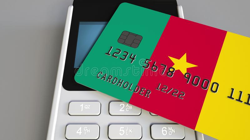 Plastic bank card featuring flag of Cameroon and POS payment terminal. Cameroonian banking system or retail related 3D stock illustration