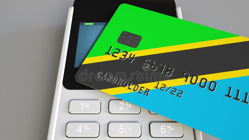 Plastic bank card featuring flag of Tanzania and POS payment terminal. Tanzanian banking system or retail related 3D vector illustration