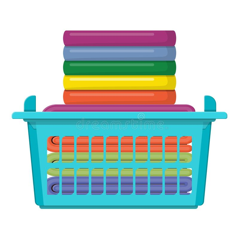 Plastic basket with bright towels isolated on white royalty free illustration