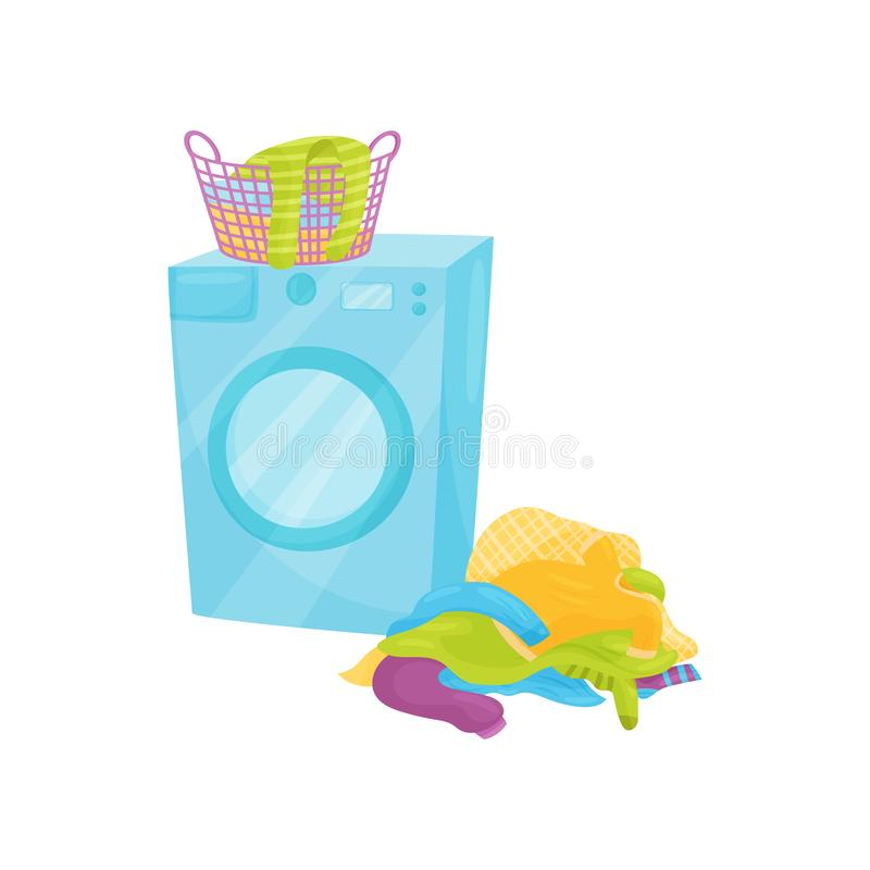 Plastic basket full of clean clothes on washing machine and pile of dirty laundry on the floor. Flat vector design. Plastic basket full of clean colored clothes vector illustration