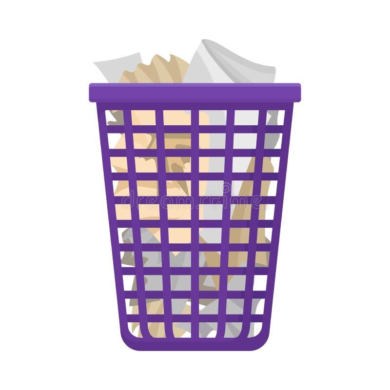 Plastic basket with garbage. Vector illustration on white background. vector illustration