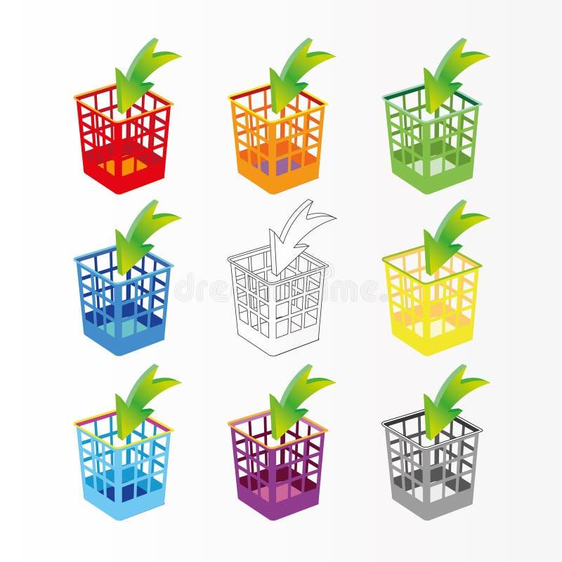 Plastic basket set, trash bins on white. Multicolor garbage can, dustbin royalty free illustration